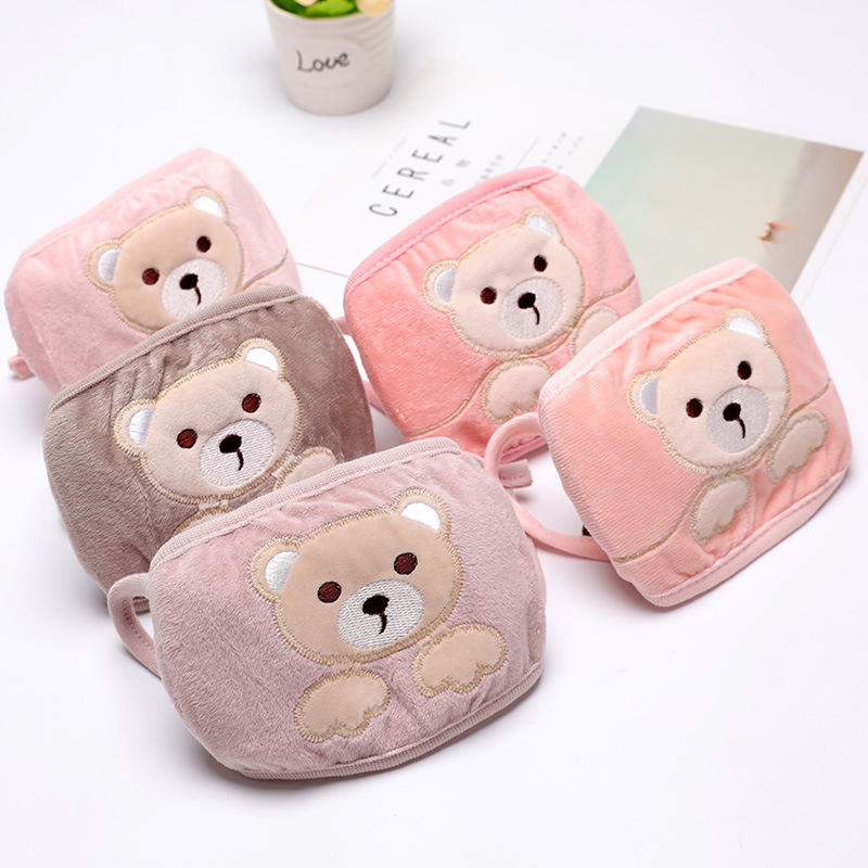 Women's Winter Cute Cartoon Bear Fleece Face Mask Autumn And Winter Warm Women's Crystal Velvet Face Mask New Style