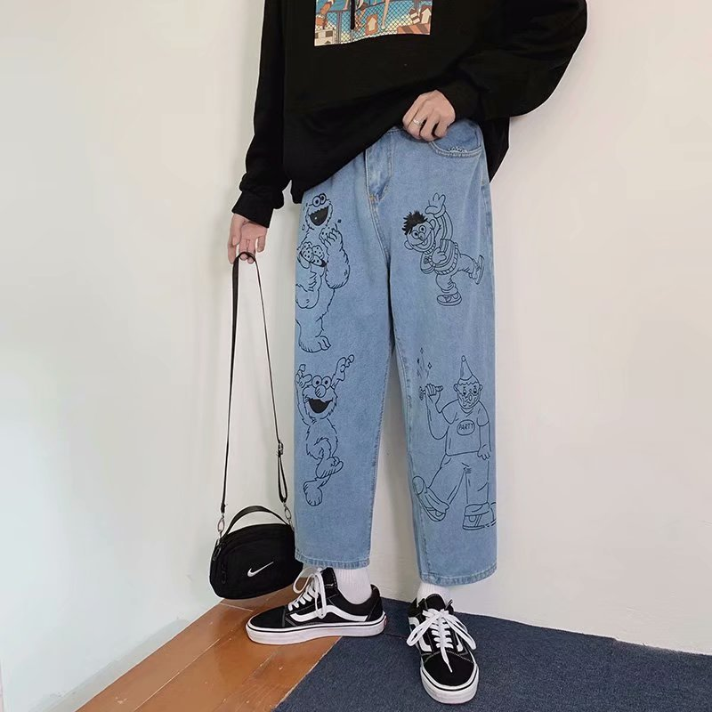 Cartoon printed jeans men's straight loose 2020 hip hop popular Korean student Hong Kong style ankle length pants