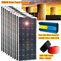10pcs 100w 1000W Solar Panel 2000W Sine Wave Inverter & 10M/20M Cables][EU/CA/US Stock] for 12V Battery House RV Power Charge
