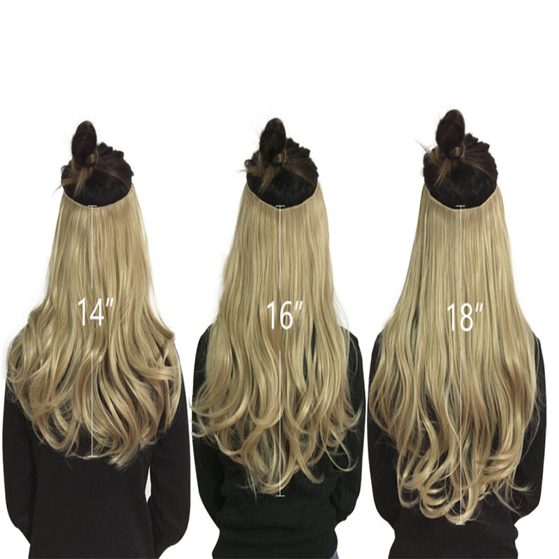 """12""""14"""" 16"""" 18"""" Wave Halo Hair Extensions Invisible Ombre Bayalage Synthetic Natural Flip Hidden Secret Wire Crown Hair Piece 5"""