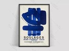 Pierre Soulages – affiche d'art abstrait, toile imprimée, décoration de maison, Vintage, tableau d'art mural bleu pour salon