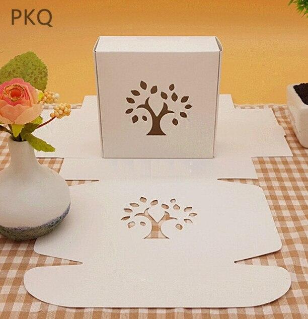 50pcs boîte en carton blanc arbre creux conception boîte de papier pour l'emballage papier blanc boîte pliante petite boîte-cadeau