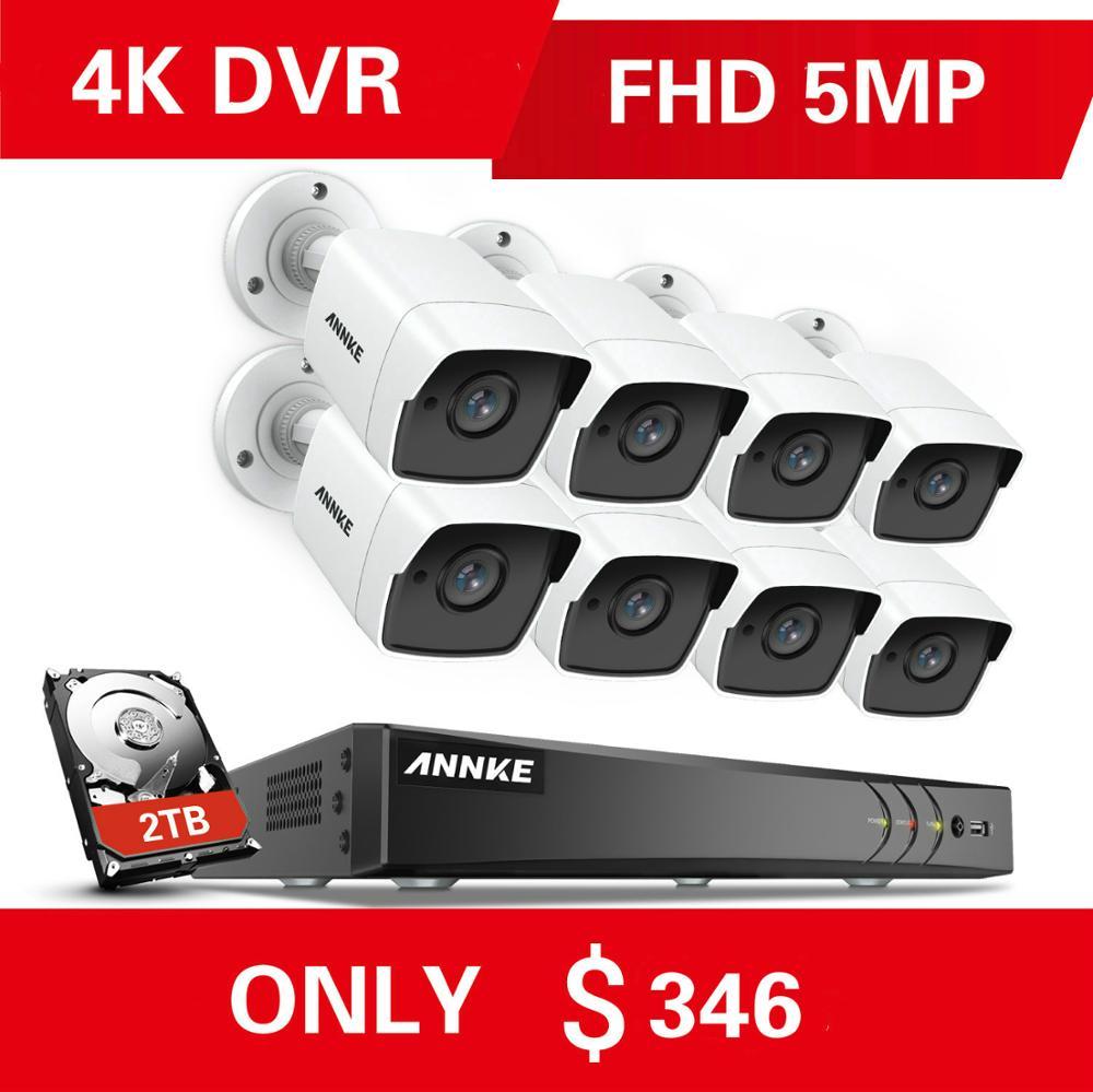 Annke 8ch 5mp 5in1 ultra hd sistema de câmera de segurança de vídeo com 8 pçs 5mp tvi bala à prova de intempéries kit cctv vigilância ao ar livre 2 tb