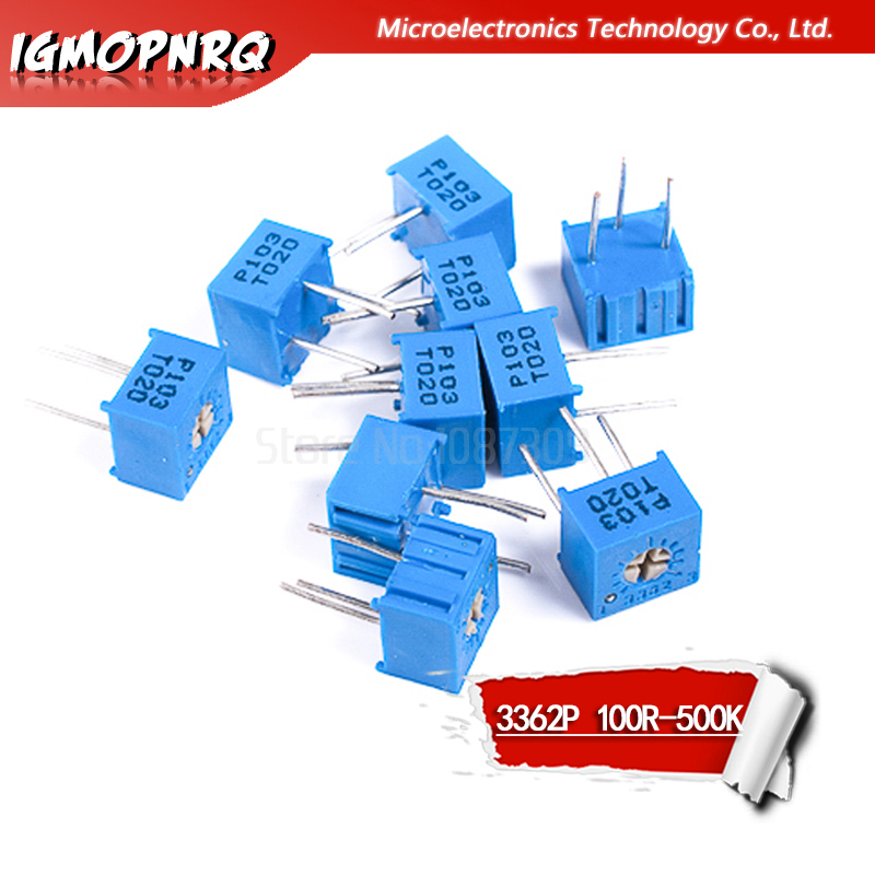 10pcs 3362P Series Resistance 101 201 501 102 202 502 103 Trimpo Trimmer Potentiometer 3362 500R 1K 2K 5K 10K 20K 50K 100K