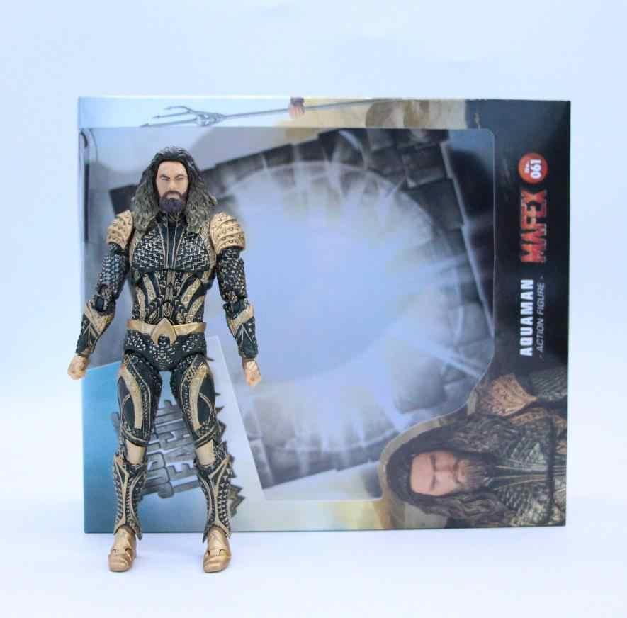 Mafex 16 centímetros Ferro Dc Liga Da Justiça 061 Aquaman Estátua Pvc Articulações Móveis Collectible Action Figure Brinquedos modelo Para As Crianças