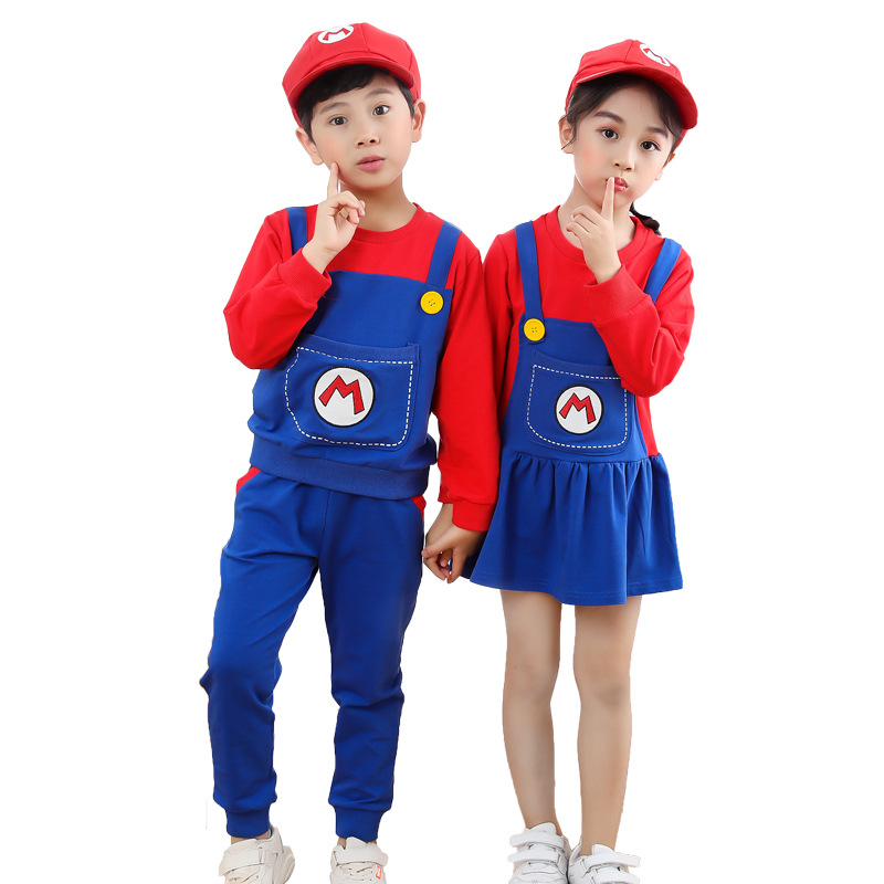 2021 New Year Christmas Clothes Super Marios Children's Bib Dress Luigi Cosplay Costume Anime Family Set Boys Girls Kids Gifts 1