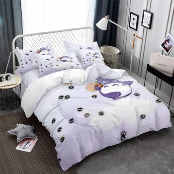 3D Printed Purple White Totoro Walking Black Susuwatari Duvet Cover Set with White Stars 3PCS Anime Totoro Kids Home Bedding Set 1