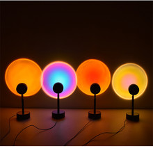 4 Colors USB Rainbow Sunset Red Projector Led Night Light Sun Desk Lamp for Bedroom Bar Coffee Store Wall Decoration Lighting