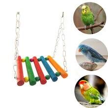 1pc animal de compagnie oiseau perroquet jouets perruche perruche calopsitte Cage bois métal hamac balançoire jouet suspendu mâcher jouets pour Mini oiseaux