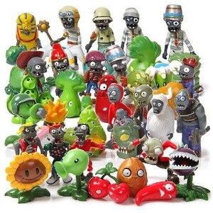 Image 1 - Ensemble de plantes 40 pièces/ensemble, jouets contre Zombies PVZ, jouets figurines en PVC, pour décoration de fête, Collection