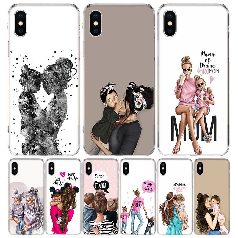Baby Mom <font><b>Girls</b></font> <font><b>Cover</b></font> Phone Case <font><b>For</b></font> <font><b>iPhone</b></font> 11 Pro 7 <font><b>6</b></font> X 8 6S Plus XS MAX + XR 5S SE 10 Ten Art TPU Coque Capa Shell image