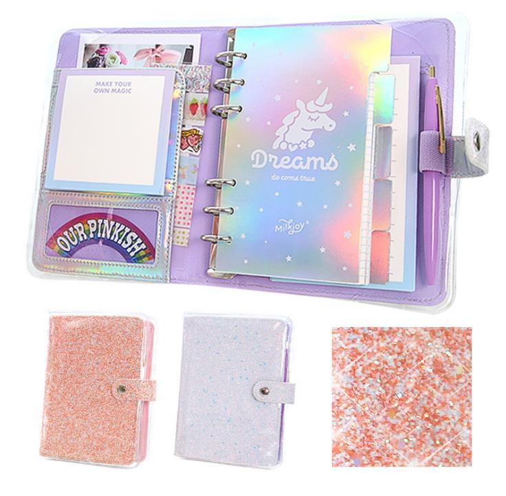 A6 Laser Kawaii Glitter Grid Notebook Refillable Planner Notebook Cute Girl Diary Notebook Thicken Filofax Agenda Bullet Journa