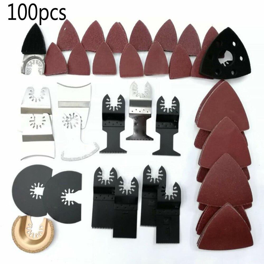100Pcs Mix Oscillating Multitool Saw Blade Kit Set For Makita Multimaster Saw Blades Renovator Electric Power Tool Accessories