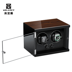 Image 2 - New Wood Watch Winder For Watches Black Piano Paint Automatic Self Watch Winders Wooden And PU Leather Watch Accessories
