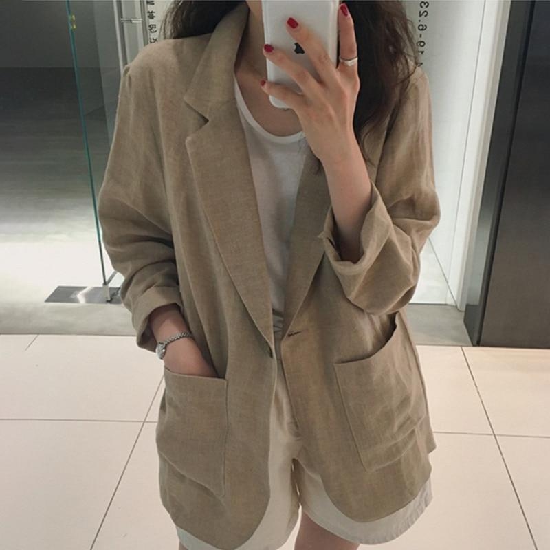 Cotton Linen Blazer Women Spring Autumn Korean Blazers and Jackets Casual Jacket Oversized Coat Vintage British Style Loose 2019