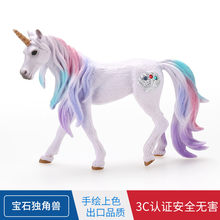 Fairy Tale Myth Toy Animals Model Color Purple Gemstone Unicorn Bakery Cake Decorations And Ornaments Gift(China)