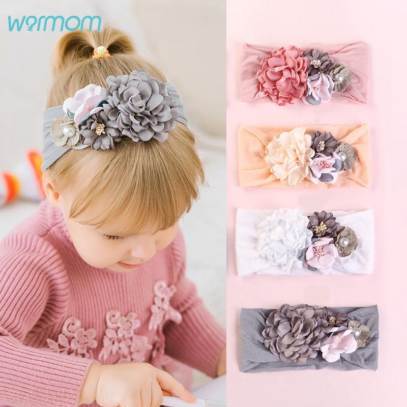 Warmom Big Flower Princess Headband Baby Girls Nylon Pearl Turban Headwear Child Kids Fashion Hair Accessories Bebe Bandeau Gift
