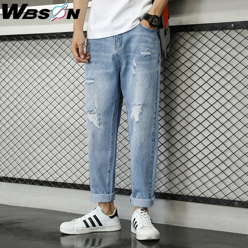 Wbson 2020 Newly Fashion Men Jeans Light Blue Loose Destroyed Ripped Jeans Men Harem Pants Korean Wide Leg Hip Hop Jeans ZY-2028
