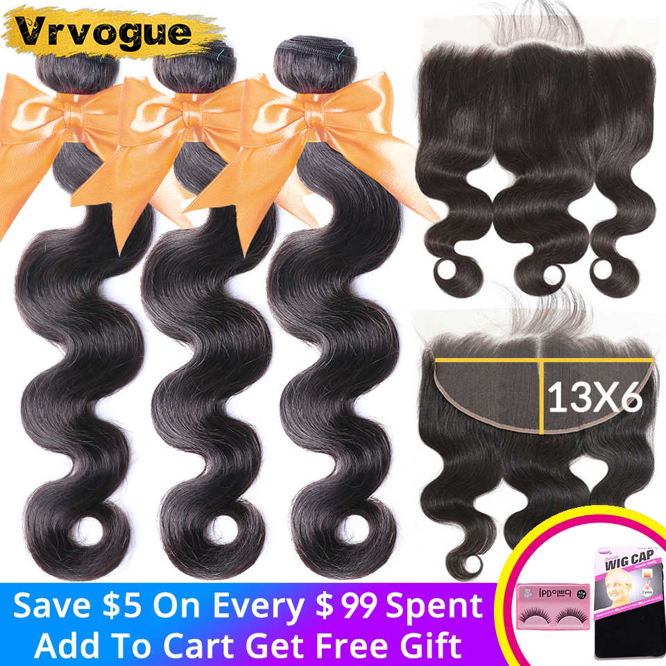 Vrvogue Brasilianische Körper Welle 3 Bundles Mit 13x6 Spitze-stirn Closure Menschliches Haar Weave Bundles Mit Spitze Frontal haar Remy Haar