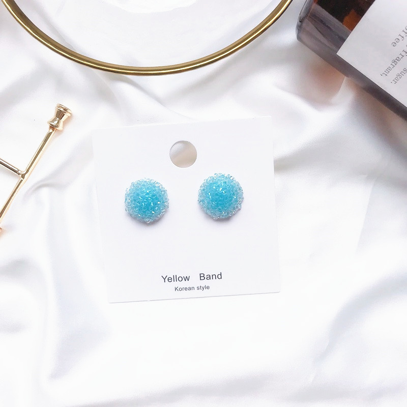 2019 Fashion Korean Multcolor Brides Beads Flower Stud Earrings for Women Summer Beads Ball Ceystal Trendy Jewelry in Drop Earrings from Jewelry Accessories