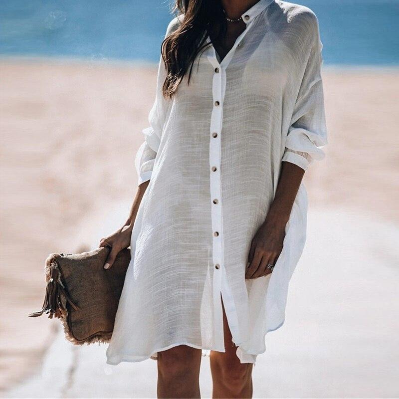 2020 Cotton Shirt Style Beach Wear Cover Ups Women Sunscreen Long Sleeve Bikini Cover-Ups Swimwear Loose White Beach Dress Tunic