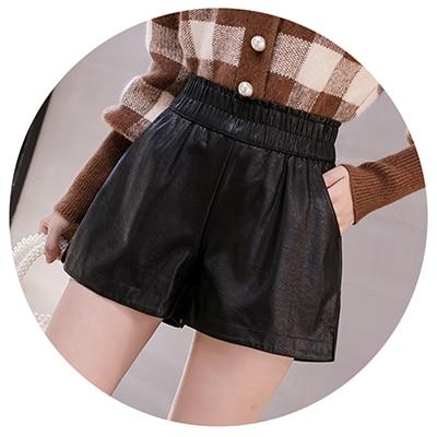 shintimes Elastic High Waist Wide Leg Biker Shorts Autumn PU Leather Shorts Women Plus Size Femme Casual Ladies Shorts Black 8