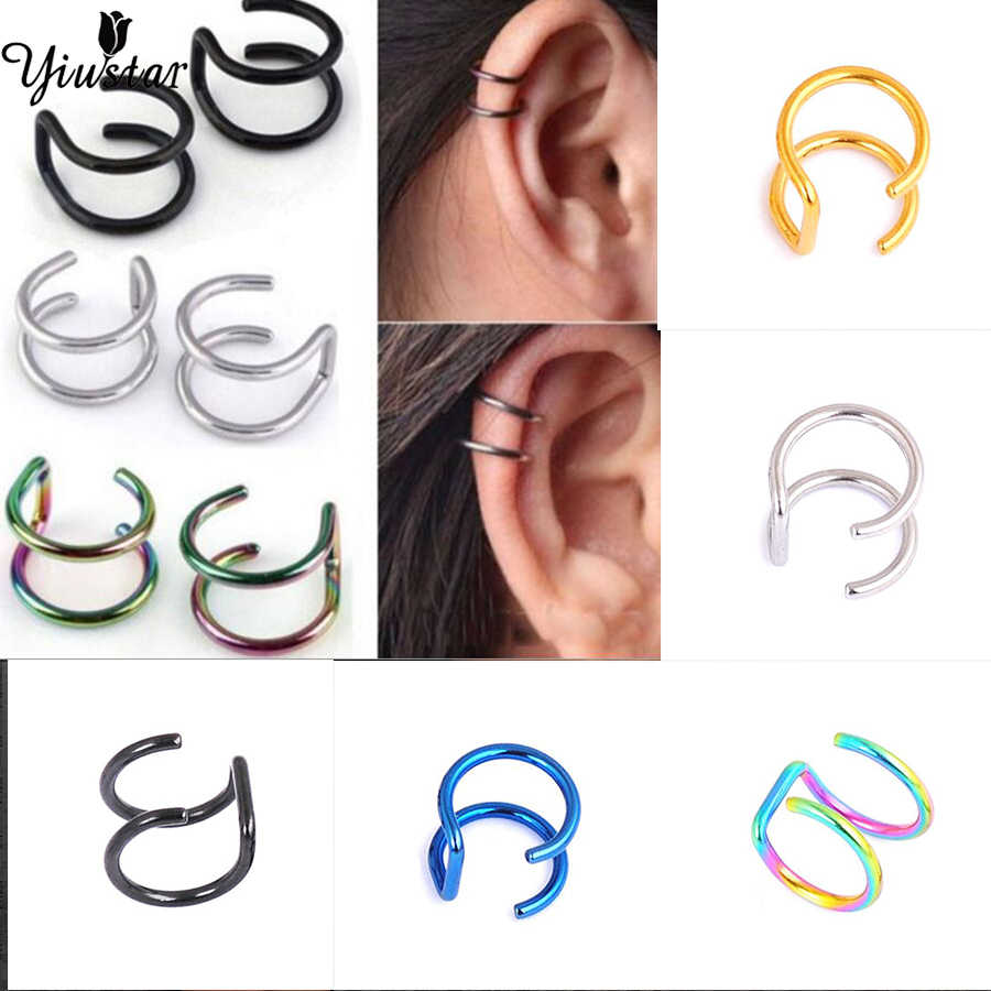 Yiustar Warna-warni Stainless Steel Anting-Anting Manset Klip Pada Anting-Anting Telinga Manset untuk Wanita Anting-Anting Klip Perhiasan Kenang-kenangan