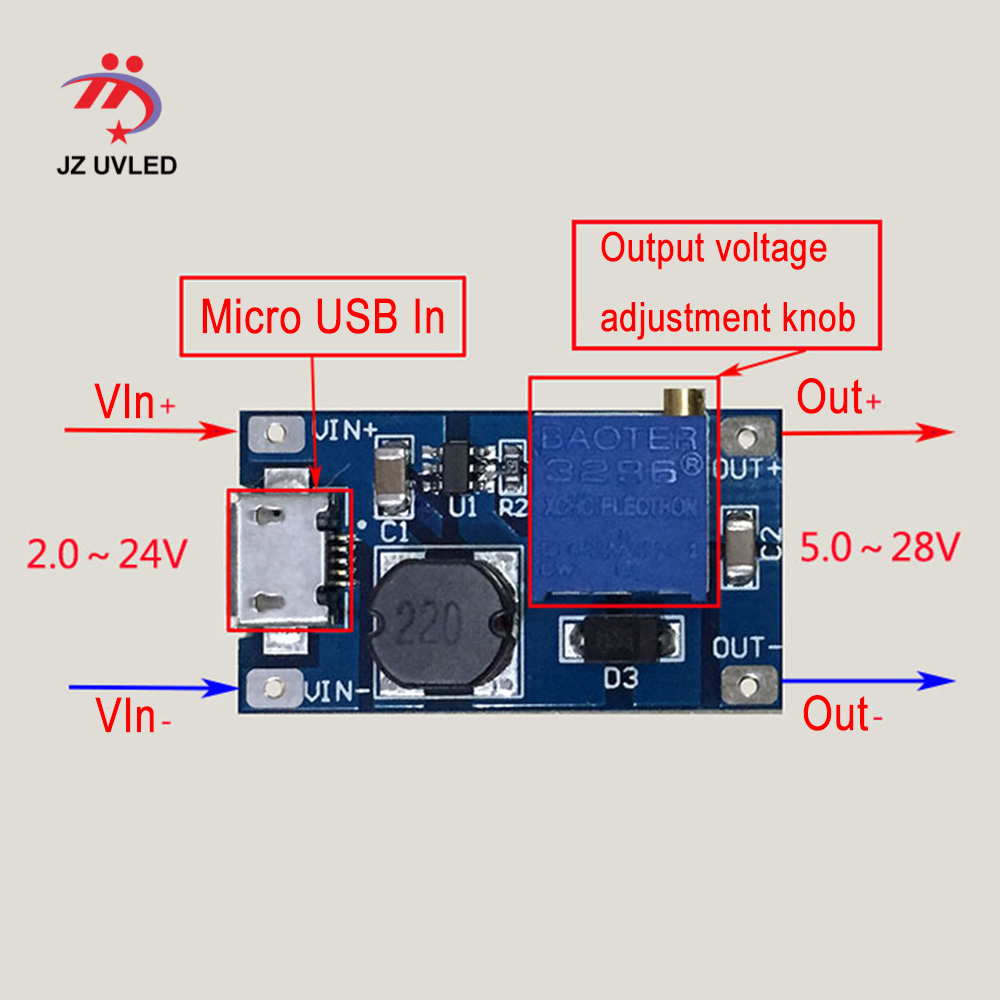 Módulo de alimentación USB para lámpara UVC de 275nm, placa de circuito para linterna de 8mm, equipo de desinfección UV, luces ultravioleta LED profundas Cuentas de lámpara LED UVC de 1W y 265nm para equipo médico para desinfección UV de 275nm SMD4545, Chip ultravioleta profundo LG de 5-9V, 150mA de Corea