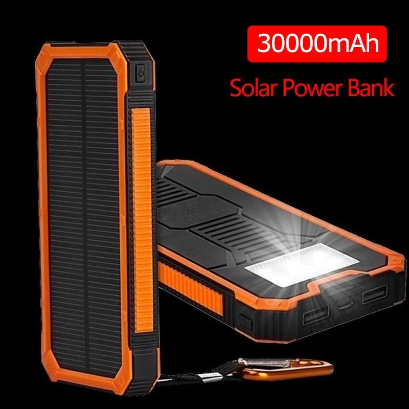 Gran capacidad Solar Power Bank 30000mAh Dual-USB impermeable Solar Power Bank cargador de batería para todos los teléfonos Iphone Huawei Xiaomi Fuente de alimentación de CC de laboratorio regulada por conmutación wamptek fuente de alimentación ajustable de 120V 60V 30V 6A 10A 3A fuente de banco del regulador de voltaje del laboratorio