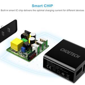 Image 4 - CHOETECH 3 منفذ USB 5v3A شاحن آيفون Xs X 8 7 LED العرض الرقمي سريع الجدار شاحن الهاتف لسامسونج شاومي ASUS