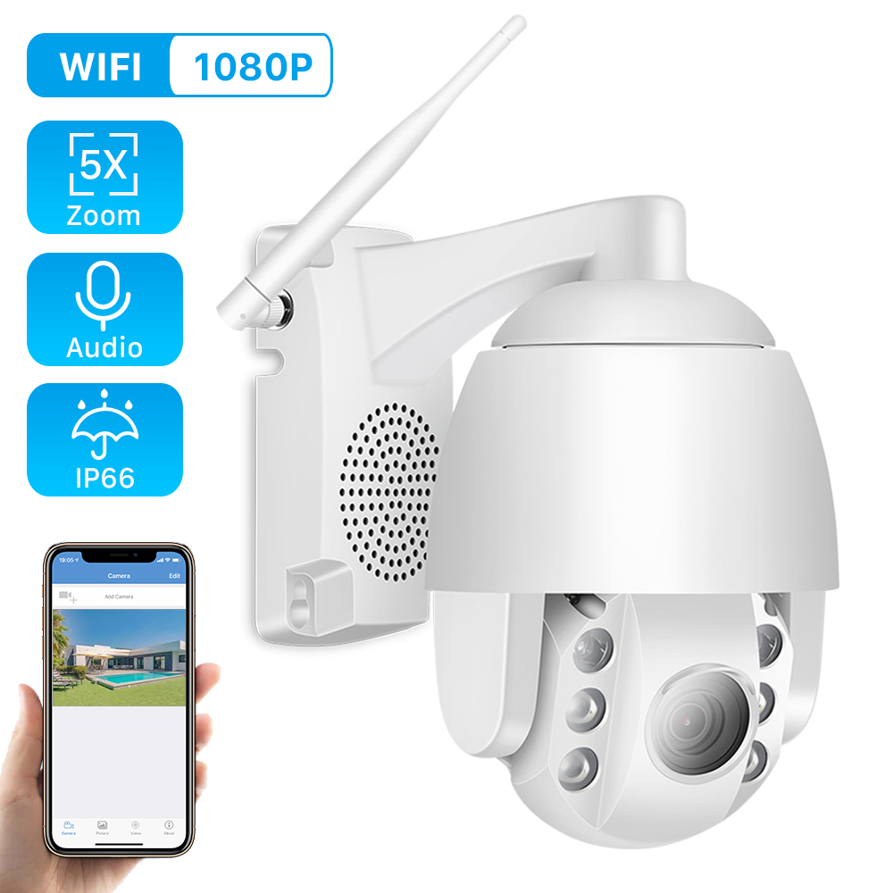 Fixed-Lens Ip-Camera Outdoor PTZ WIFI Speed Dome Mini 1080P 4mm Ir-60m Audio Two-Way