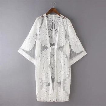 Summer Swimsuit Lace Hollow Crochet Bikini Cover-Up Beach Dress Women Cover Up Tops White Tunic Shirt