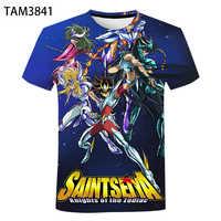 Camiseta con estampado de la leyenda del Santuario de Saint Seiya, camiseta informal de algodón en 3D de manga corta para niños, moda de verano, 2021