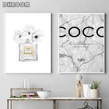 Affiche de mode avec bouteille de parfum et fleur de pivoine, peinture murale en marbre, affiche en Vogue, décor de chambre de fille
