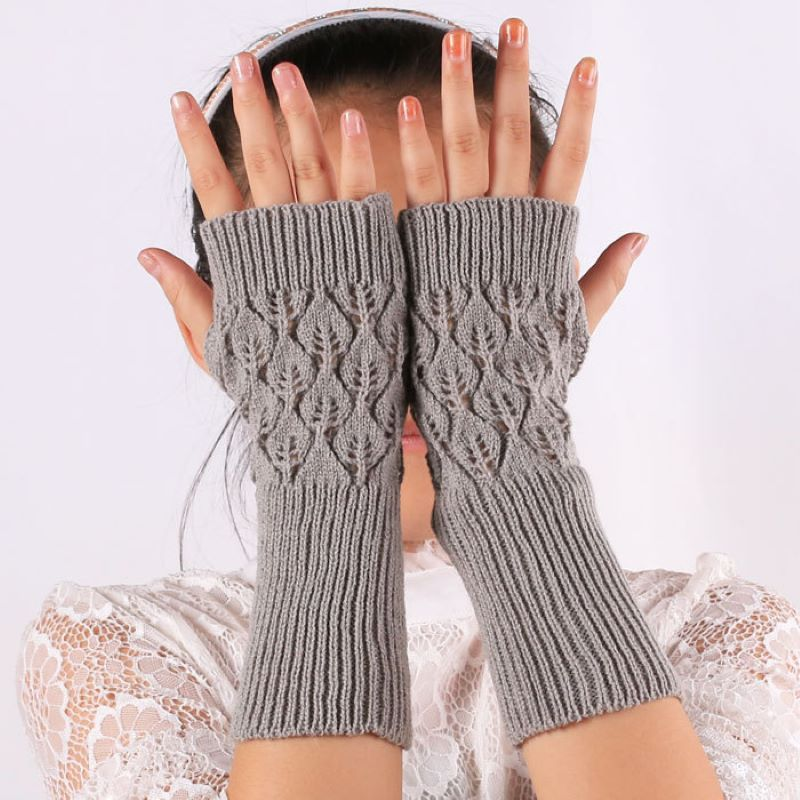 Hollow Out Long Gloves Women 's Korean -style Long Gloves Cuff Fingerless Gloves Hollow Out Leaf Computer Gloves