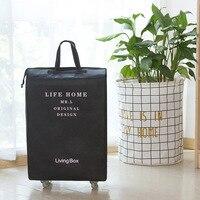 Verdicken Baumwolle Bettwäsche Wasserdichte Große Kapazität Falten Reisetasche Mode Tragbare Koffer Mit Rädern Gepäck Reisen Taschen