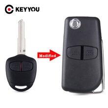 Keyyou 2 botão modificado flip dobrável remoto chave caso escudo para mitsubishi novo asx grandis outlander lancer-ex lâmina direita/esquerda
