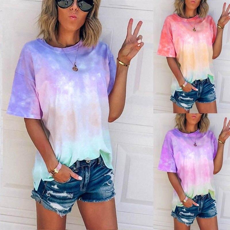 2020 Summer Sexy Women Tie Dye Print Short Sleeve T Shirt O-neck Gradient Color Tee Shirt Femme Streetwear