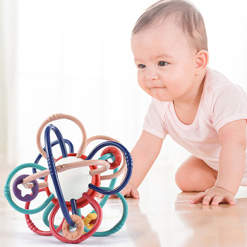 0-12 Months Newborn Baby Development Ball Safe Soft Teething Toys Plastic Hand Bell Early Educational Rattle Teether Baby Toys 1
