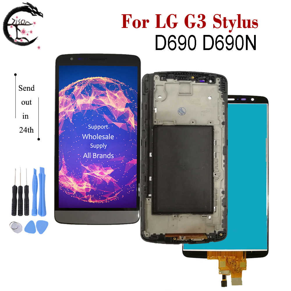 For <font><b>LG</b></font> <font><b>G3</b></font> Stylus D690 LCD D690N D 690 Display With Frame Full <font><b>Screen</b></font> Touch Sensor Digitizer Assembly For <font><b>LG</b></font> G3stylus LCD 5.5
