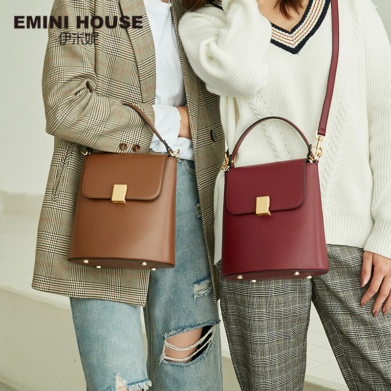 EMINI HOUSE Padlock Bucket Bag Female Crossbody Bags For Women Split Leather Solid Color Luxury Handbags Women Bags Designer