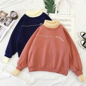 Image 2 - Hoodies Kadın Balıkçı Yaka Patchwork Kalın Kış Dış Giyim Hoodie Kore Yeni Streetwear Bayan Casual Kazak Mektup Uzun Kollu