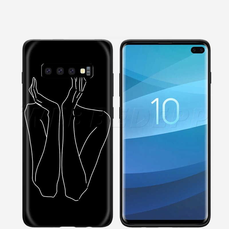 Webbedepp çizim hat sanatı samsung kılıfı Galaxy S7 S8 S9 S10 artı kenar not 10 8 9 A10 A20 A30 A40 a50 A60 A70