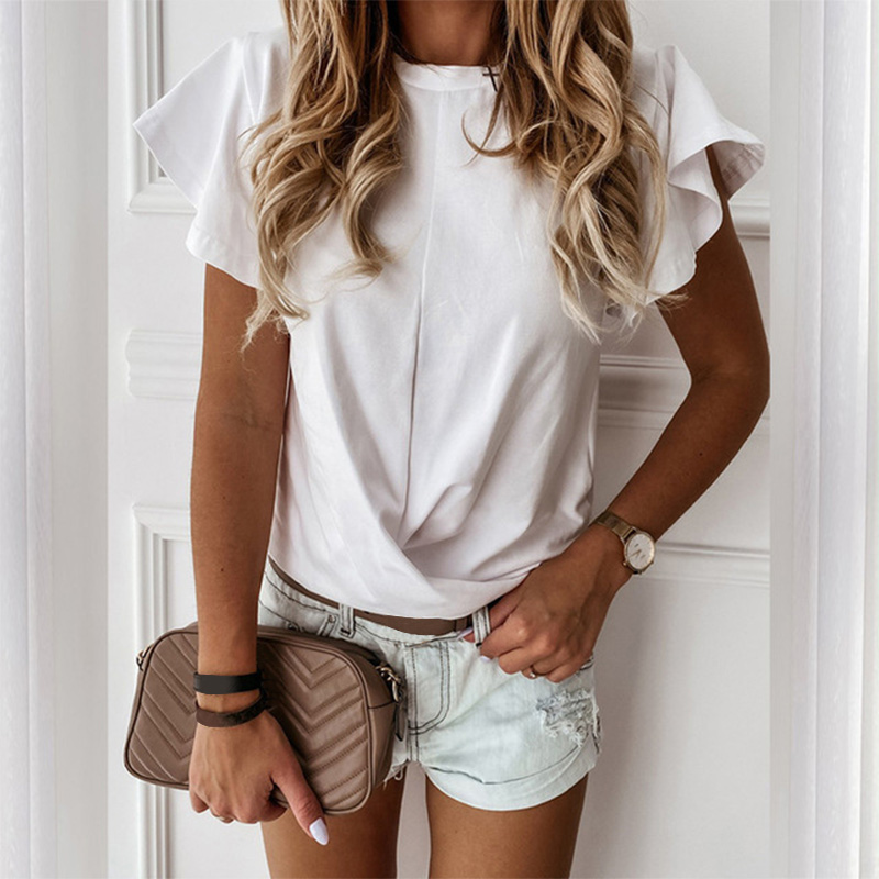 100% Cotton Women's TShirts Butterfly Short Sleeve Sweet Summer White Ruffle T Shirt Lady 2020 Fashion Casual T Shirts Female