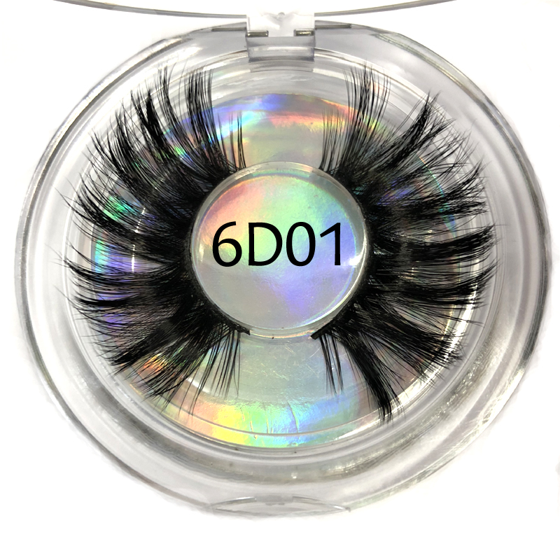 6D Faux Mink 25mm Lashes Plastic Round Case Dramatic Strip Individual False Eyelashes