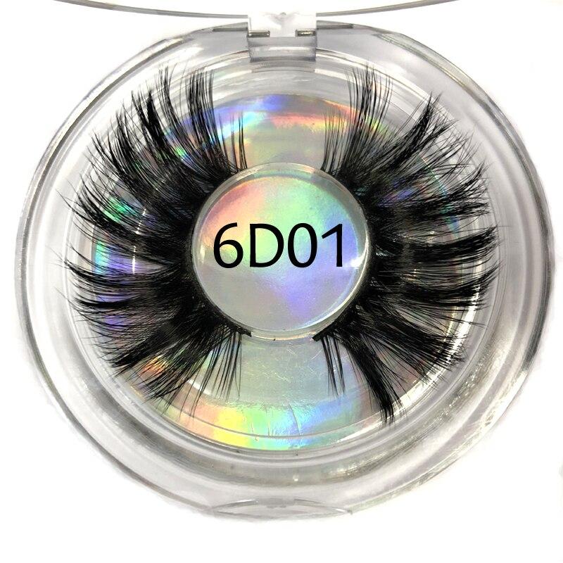 6D Faux Mink 25mm Lashes Plastic Round Case Dramatic Strip Individual False Eyelashes
