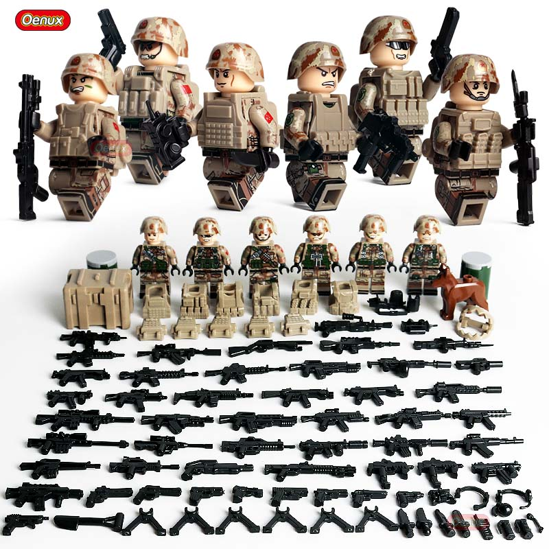 Oenux 6PCS Mini Camouflage Soldiers Figures Military Building Block Modern Army Soldier With Weapons Legoings Brick Toy Boy Gift