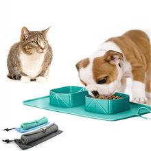 Foldable Double Cat Bowl Dog Travel Outdoor Food Container Puppy Silicone Feeding Bowls Feeder Dish Plate Pot Pet Water Bottle(China)