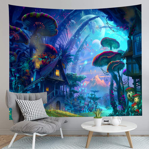 Image 4 - Simsant Mushroom Forest Castle Tapestry Fairytale Trippy Colorful Butterfly Wall Hanging Tapestry for Home Decor GT2TDBZY0425