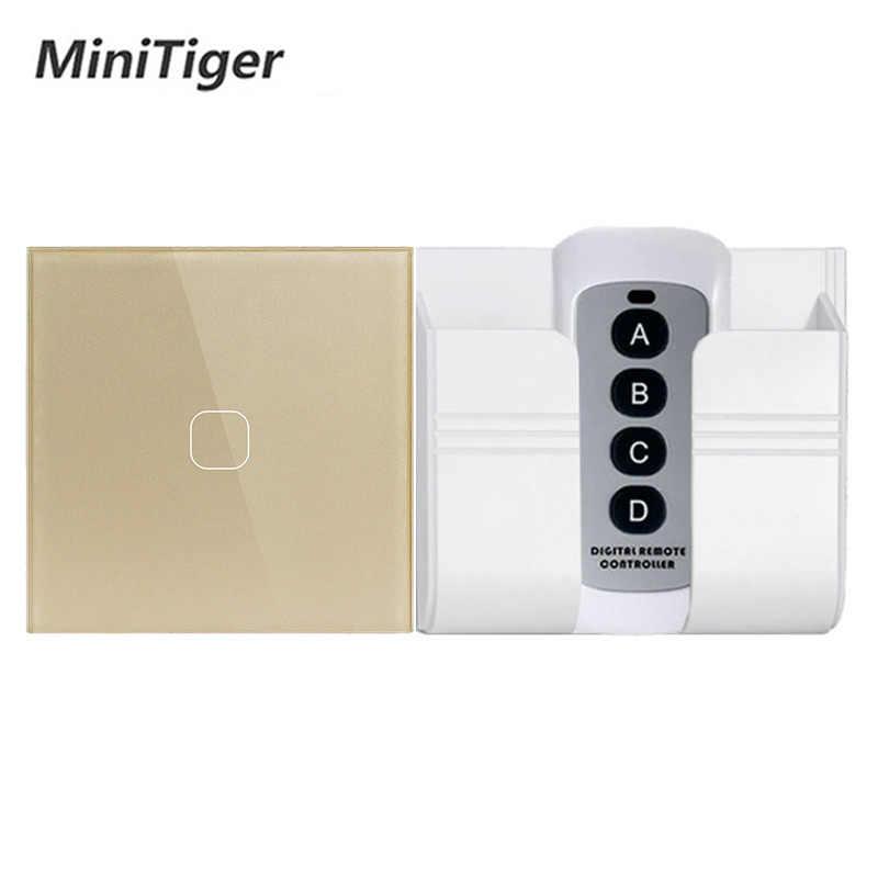 Minitiger EU/UK Standar 1/2 Gang Remote Kontrol Nirkabel Light Touch Switch, rumah Pintar RF433 Remote Control Wall Switch
